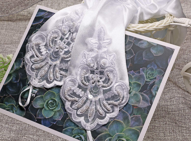 Penta Angel 2 Pairs Black Lace Floral Sunblock Gloves Bridal Party Dress Evening Fingerless Wrist Gloves for Women Girls Bridal Wedding Prom