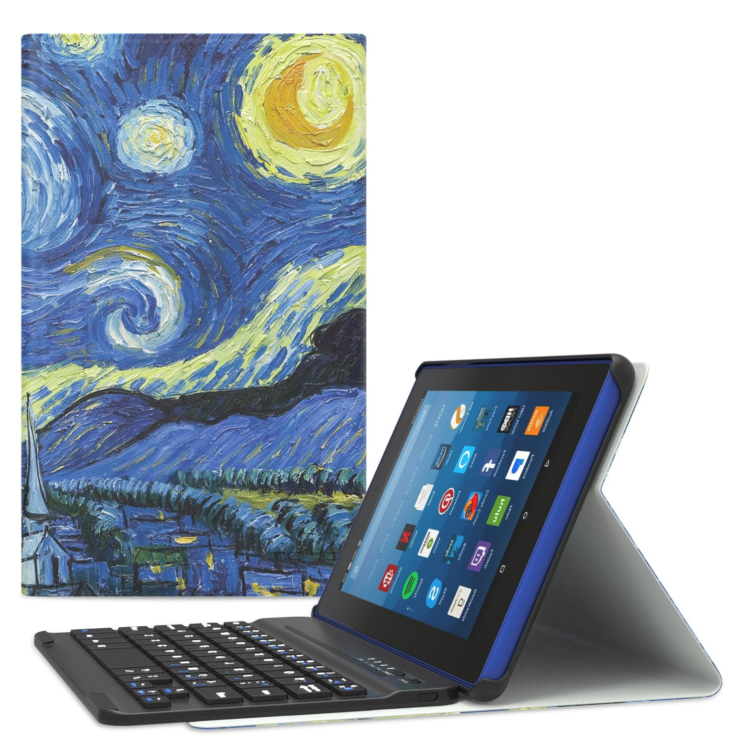 MoKo Keyboard Case for All-New Amazon Fire HD 8 Tablet - Wireless Keyboard Cover with Auto Wake / Sleep for Fire HD 8 (7th Gen–2017 Release) / Fire HD 8 (6th Gen-2016 Release), Starry Night