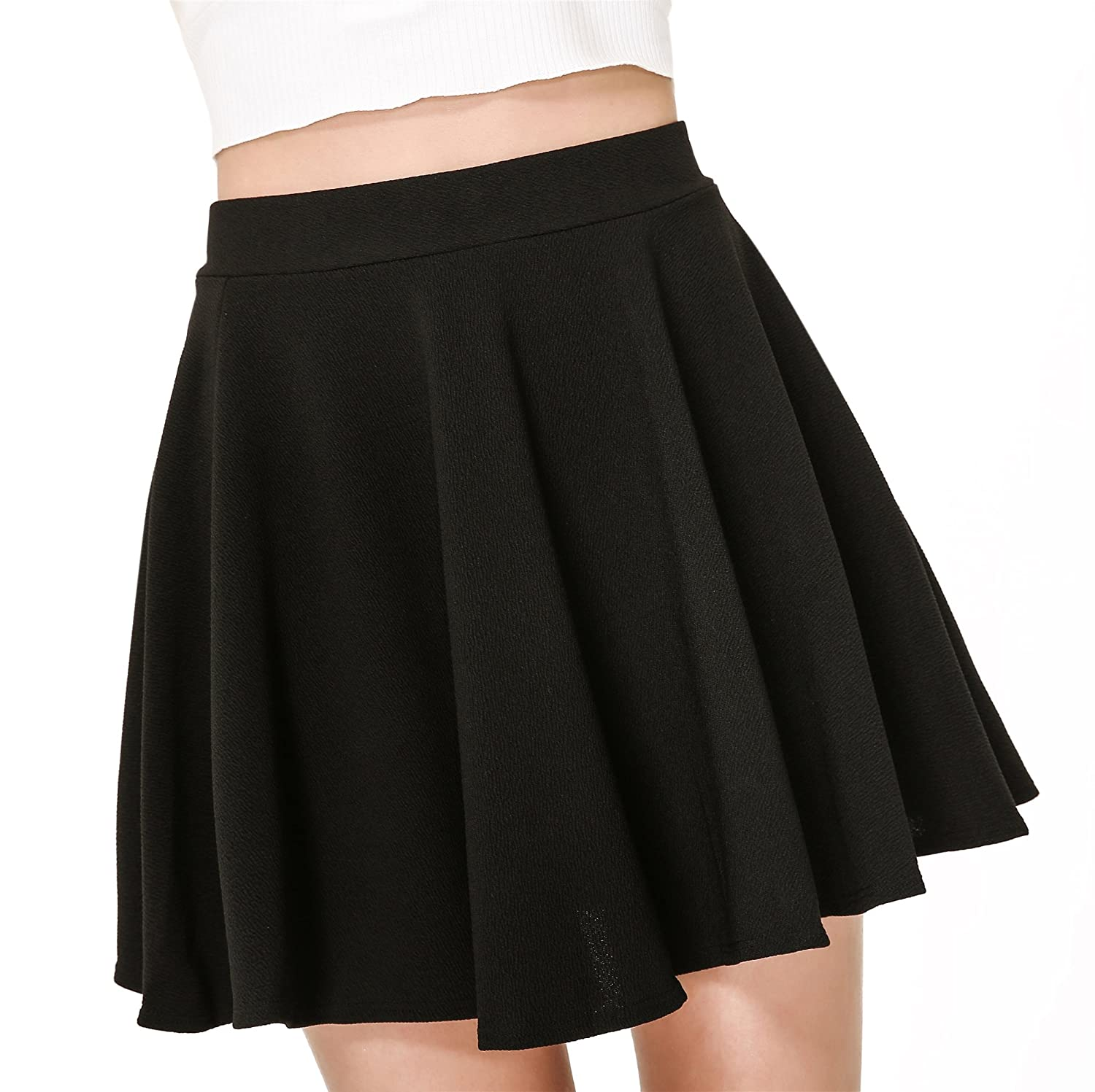 649de4c06 Moxeay Women's Basic A Line Pleated Circle Stretchy Flared Skater Skirt at  Amazon Women's Clothing store:
