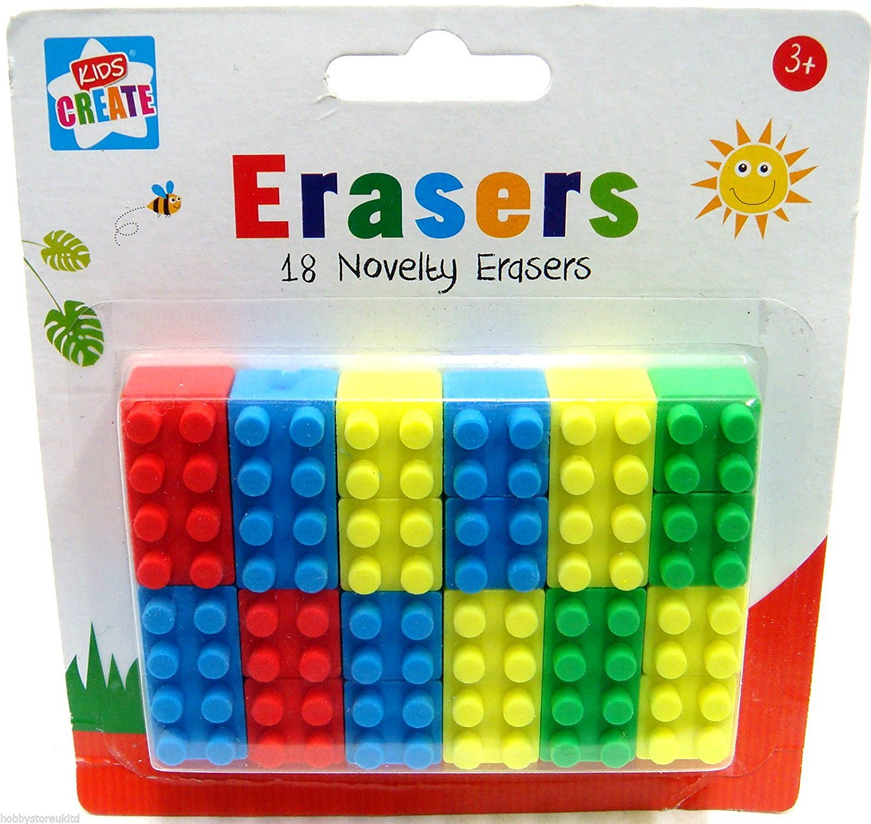 Novelty Erasers Lego Rubbers 18 School Rubbers Kids Erasers Brick Block Type New