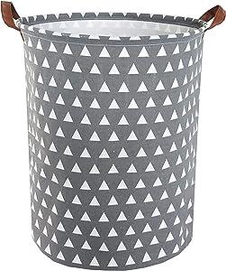 ESSME Laundry Hamper,Collapsible Canvas Waterproof Storage Bin for Kids, Nursery Hamper,Gift Baskets,Home Organizer (Grey Triangles)