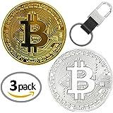 Set de 2 chapado en oro y plateado redondo coleccionistas monedas conmemorativas de Bitcoin