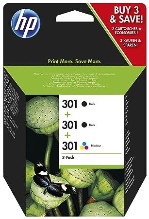 HP E5Y87EE - Cartucho de tinta numéro 301 para impresora HP Deskjet (3 Cartuchos - 2 de tinta negro y uno tricolor)