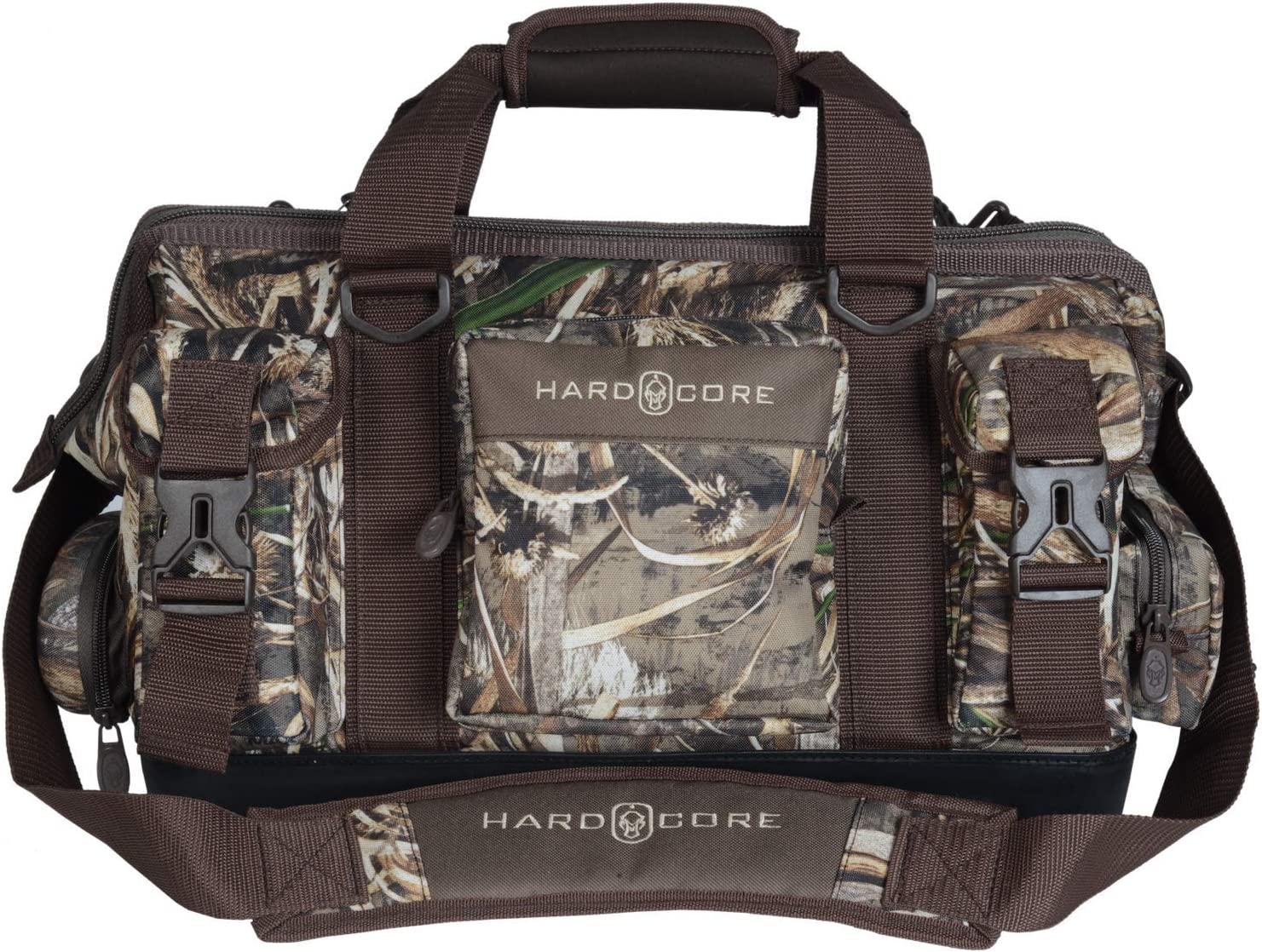 """Hard Core Decoys Full Day Blind Multiple Pocket Configuration Hunting Bag with Rubberized Carry Handlel and Removable Shoulder Strap   External Water Bottle Holder   10"""" x 10"""" x 15"""""""