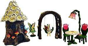 Premium Fairy Garden Kit - Daisy Fairy House, Standing Fairy, Fairy Arbor Swing, Fairy Seating (7, Fairy House w/Yellow Daisy Roof)