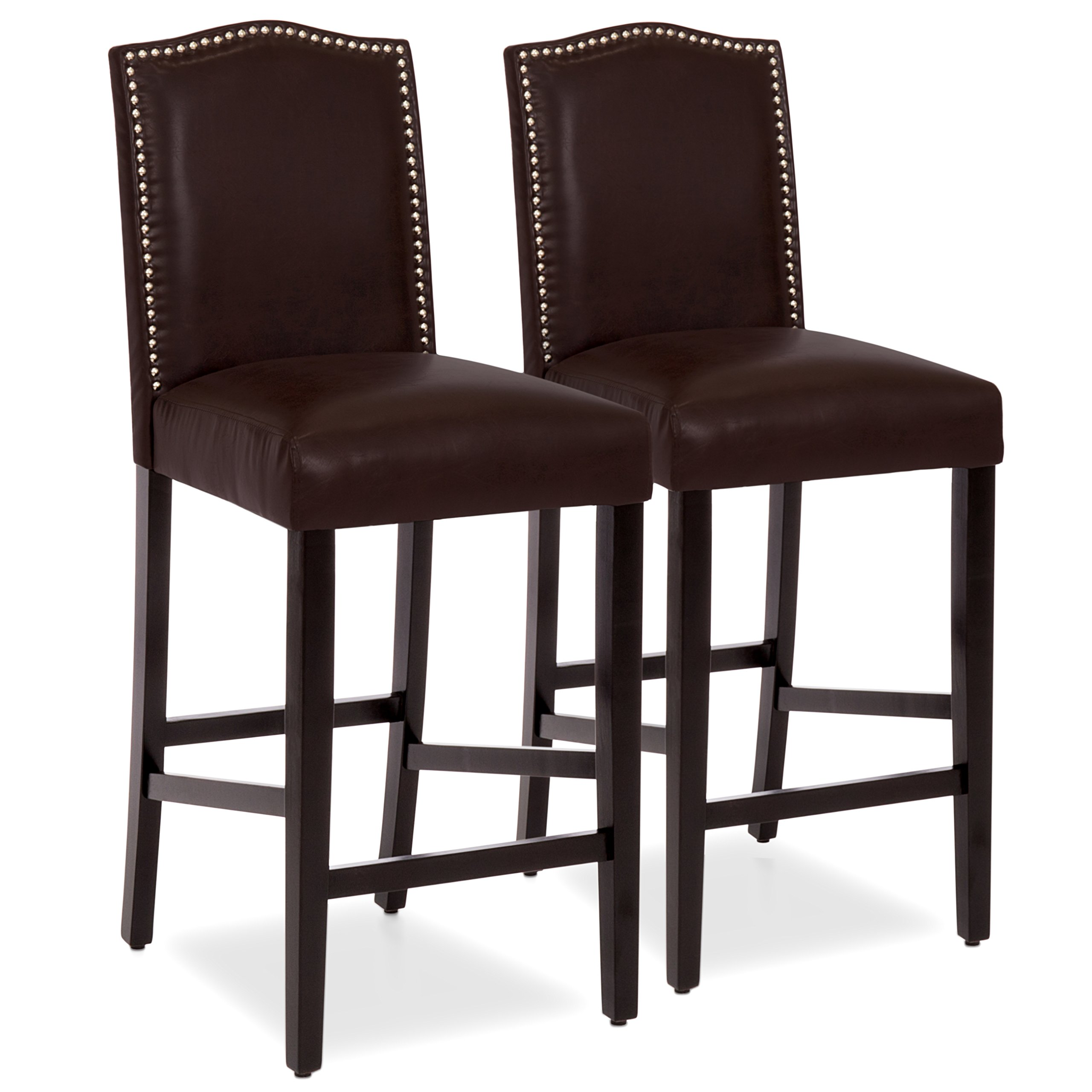 Best Choice Products 30'' Set of 2 Nail Head Studded Leather Backed Bar Stools (Brown)