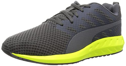 257d6801f1fa74 Puma Men s Flare Mesh Asphalt and Safety Yellow Running Shoes - 10 UK India  (