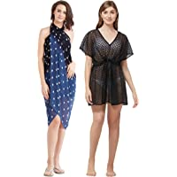 SOURBH Women's Beach Wear Kaftan & Sarong Combo Value Pack Body Wrap Swim Coverup - Set of 2 (S4_SK498 - Blue & Black - Free Size)