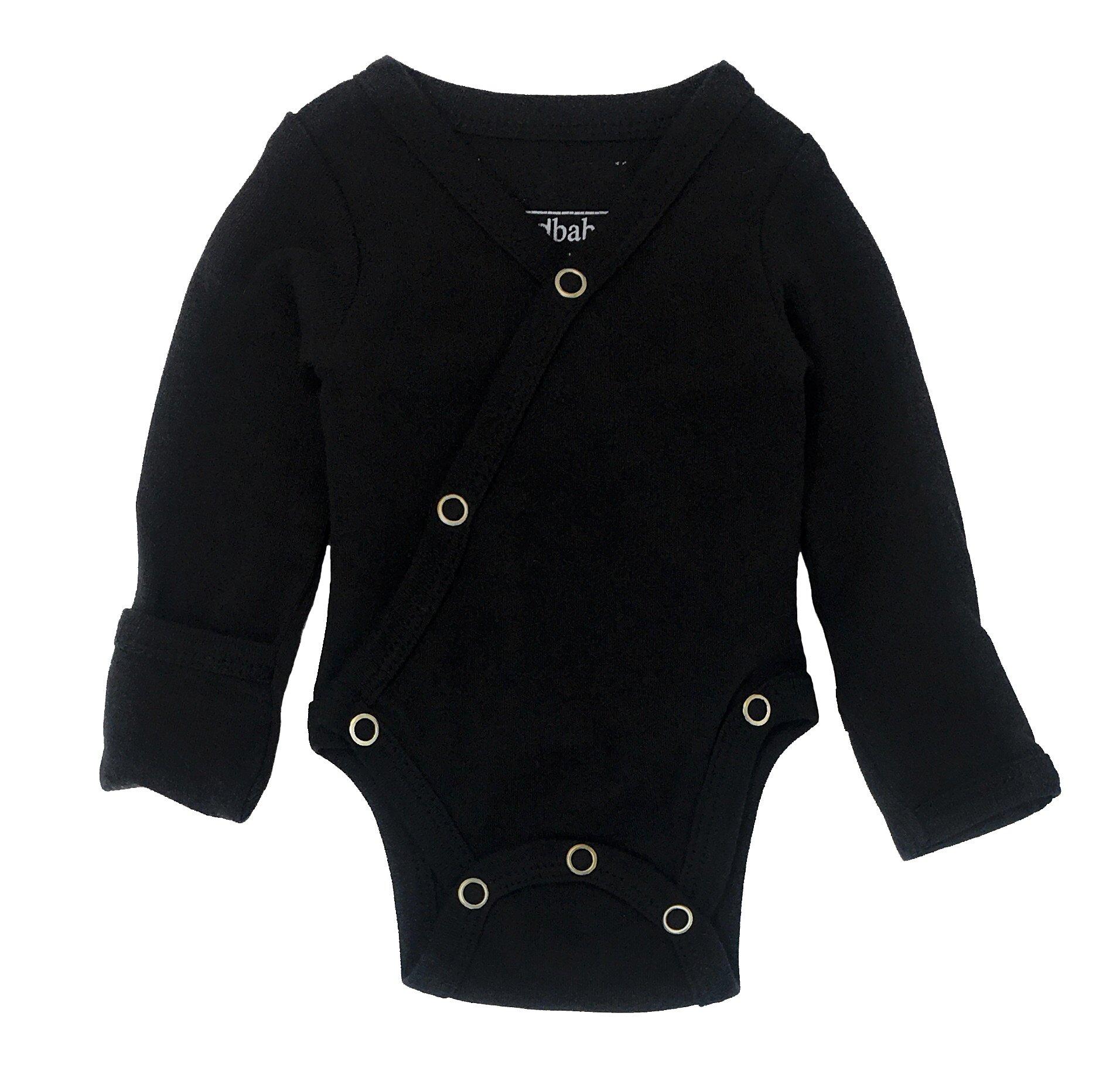 L'ovedbaby Unisex Baby Organic Cotton Kimono Bodysuit (3-6 Months, Black)