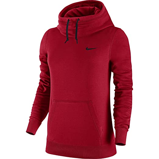 f147eef7523a Amazon.com  Nike Womens Club Funnel Hoodie  729297-687 (XS) Red ...