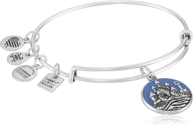 Alex and Ani Sand Castle EWB Rafaelian Silver Bangle Bracelet: Jewelry