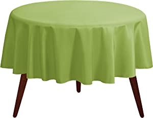 "Gee Di Moda Tablecloth - 70"" Inch Round Tablecloths for Circular Table Cover in Apple Green Washable Polyester - Great for Buffet Table, Parties, Holiday Dinner & More"