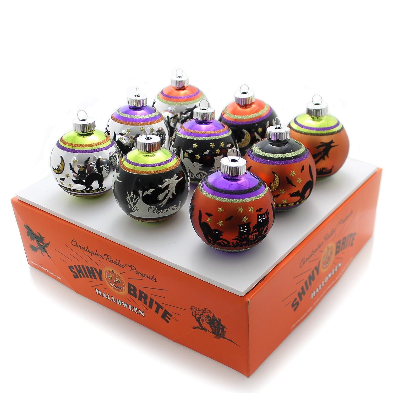 Shiny Brite Halloween Signature Flocked Ornaments - Set of Nine Christopher Radko
