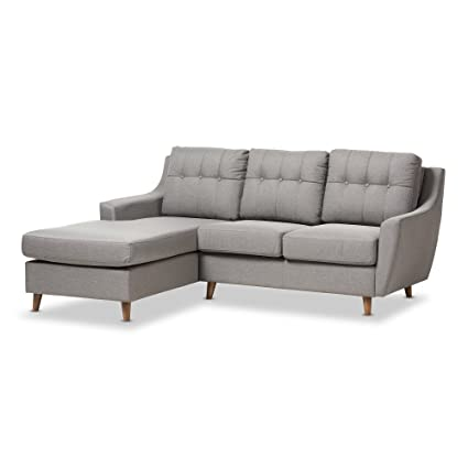 Merveilleux Baxton Studio Adele Mid Century Grey Fabric Upholstered Button Tufted  2Piece SECTIONAL Sofa
