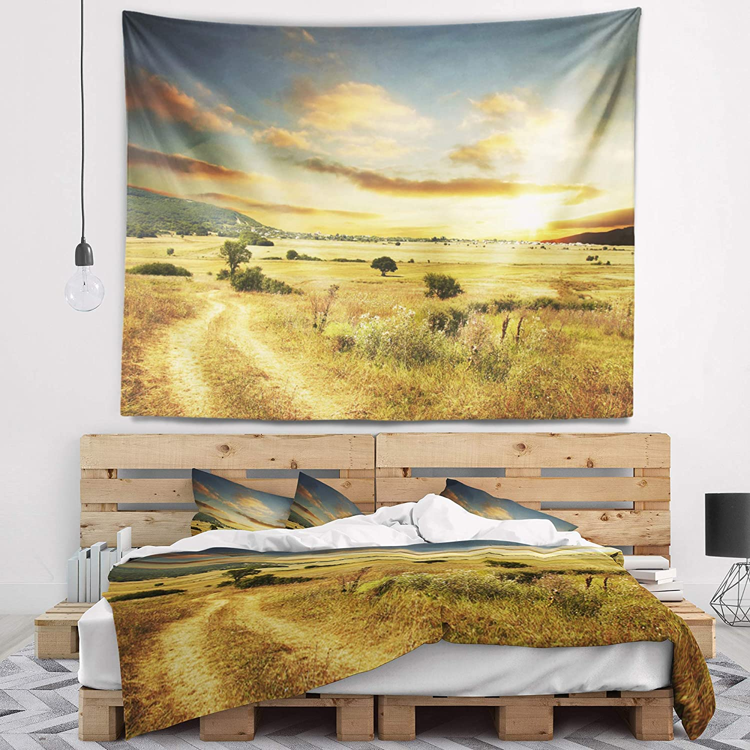 Designart TAP12915-39-32  Beautiful Rural Prairie Sunset African Landscape Blanket D/écor Art for Home and Office Wall Tapestry Medium 39 x 32