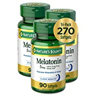Melatonin by Nature's Bounty, 100% Drug Free Sleep Aid, Dietary Supplement, Promotes Relaxation and Sleep Health, 5mg, 90 Softgels (Pack of 3)