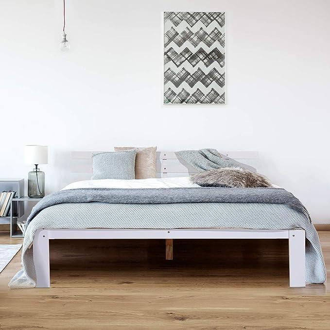 Lattenrost einfache Montage mit Stauraum Wei/ß 214 x 165 x 88 cm 250 kg Belastbarkeit HOMCOM Bett Holzbett Bettgestell 160 cm Doppelbett Kiefer massiv inkl