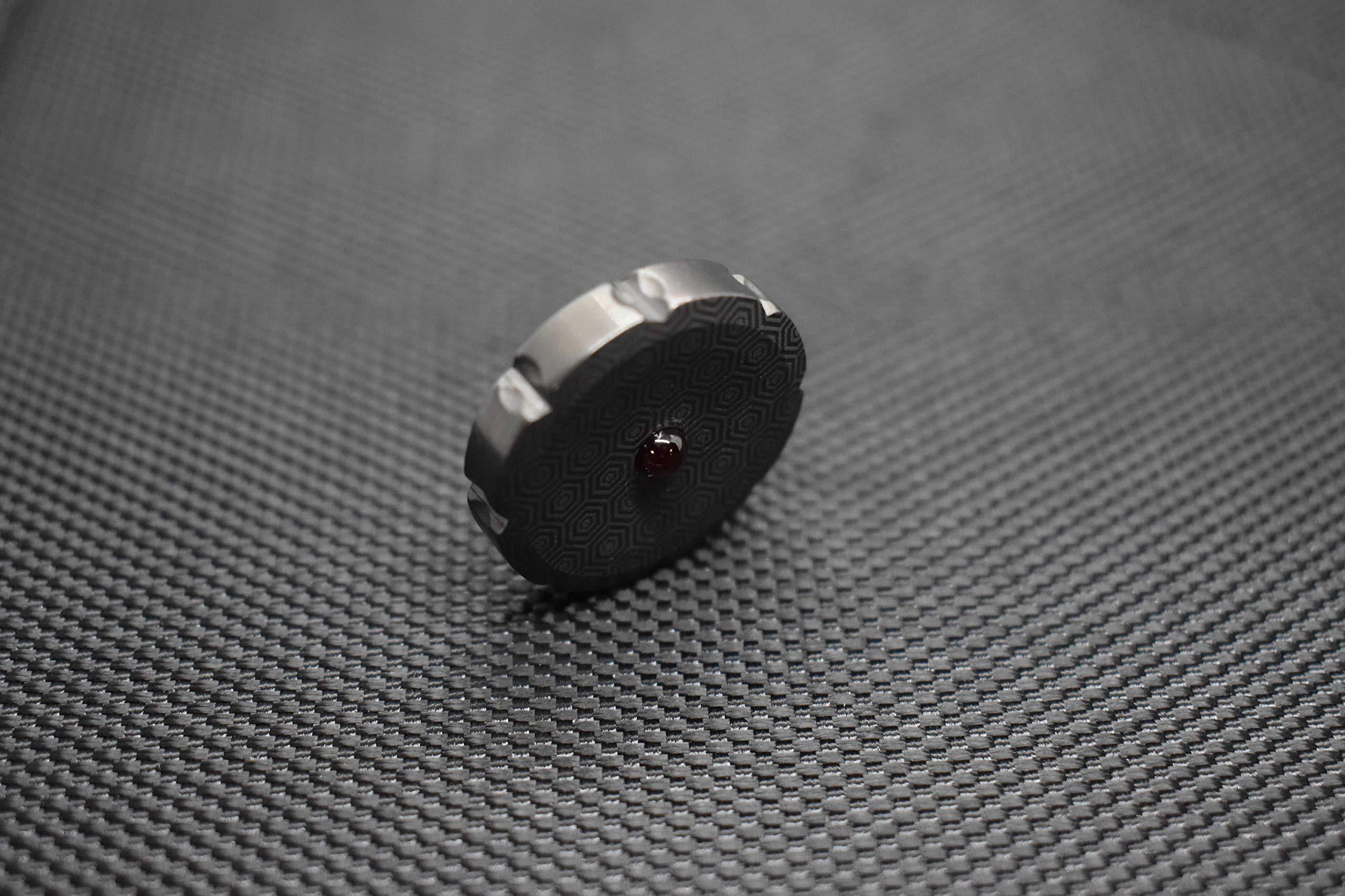 MetonBoss Worry Coin Black Zirconium & Ruby Bearing   Everyday Carry Gear   Precision-Made and Desktop Display by MetonBoss (Image #5)