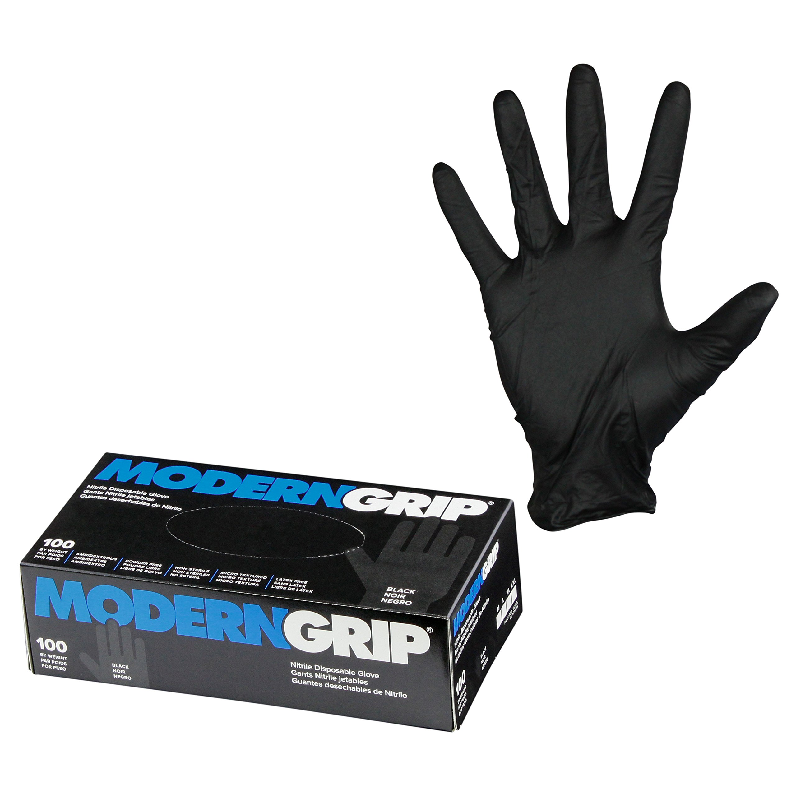Modern Grip 16105-L Nitrile 6 mil Thickness Premium Disposable Gloves – Industrial and Household, Powder Free, Latex Free, Micro Textured for Superior Grip - Black - Large (100 count) by Modern Grip