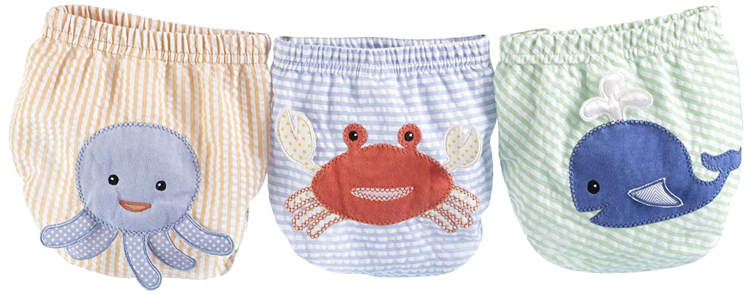 Baby Aspen Beach Bums 3 Piece Bloomers, Newborn Bathing Suit, Diaper Cover, Swimmers, 0-6 Months BA15024SM