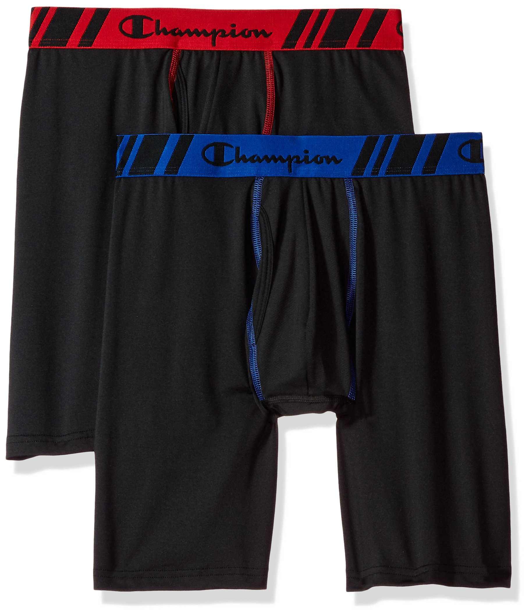 Champion Men's Tech Performance Long Boxer Brief, Black/Black, Small, 2-Pack by Champion
