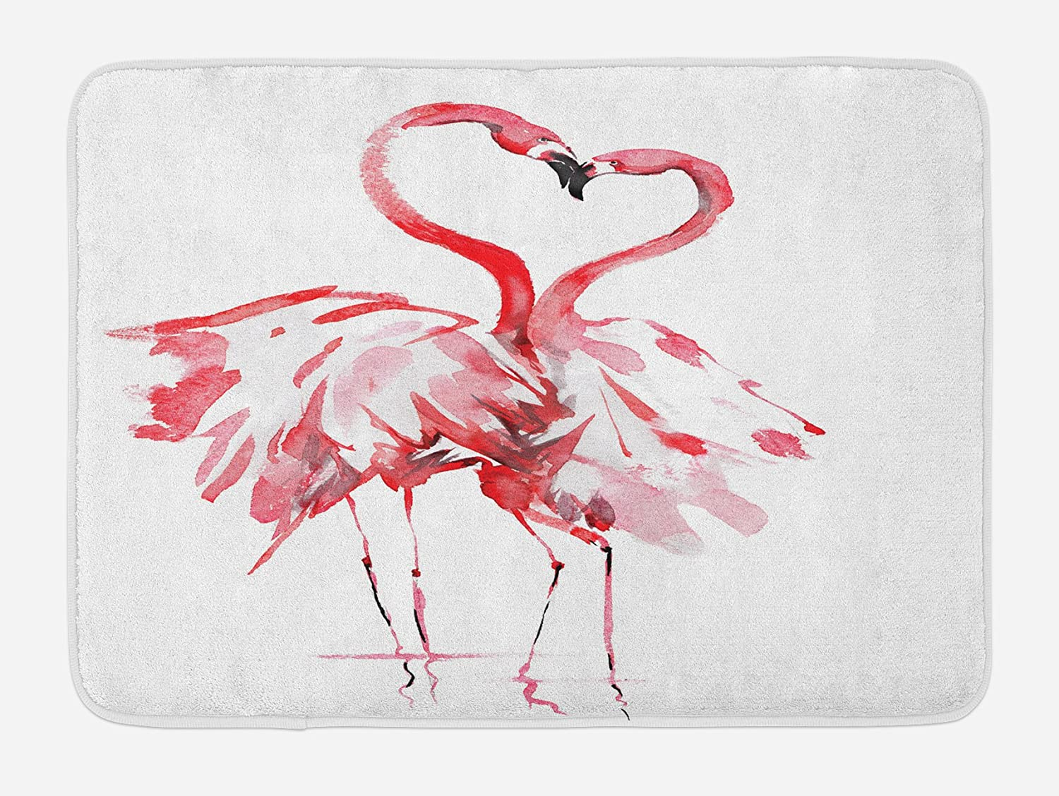 Ambesonne Flamingo Bath Mat, Flamingo Couple Kissing Romance Passion Partners in Love Watercolor Effect, Plush Bathroom Decor Mat with Non Slip Backing, 29.5