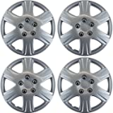 Hubcaps for Toyota Corolla (Pack of 4) Wheel Covers - 15 Inch, 6 Spoke, Snap On, Silver
