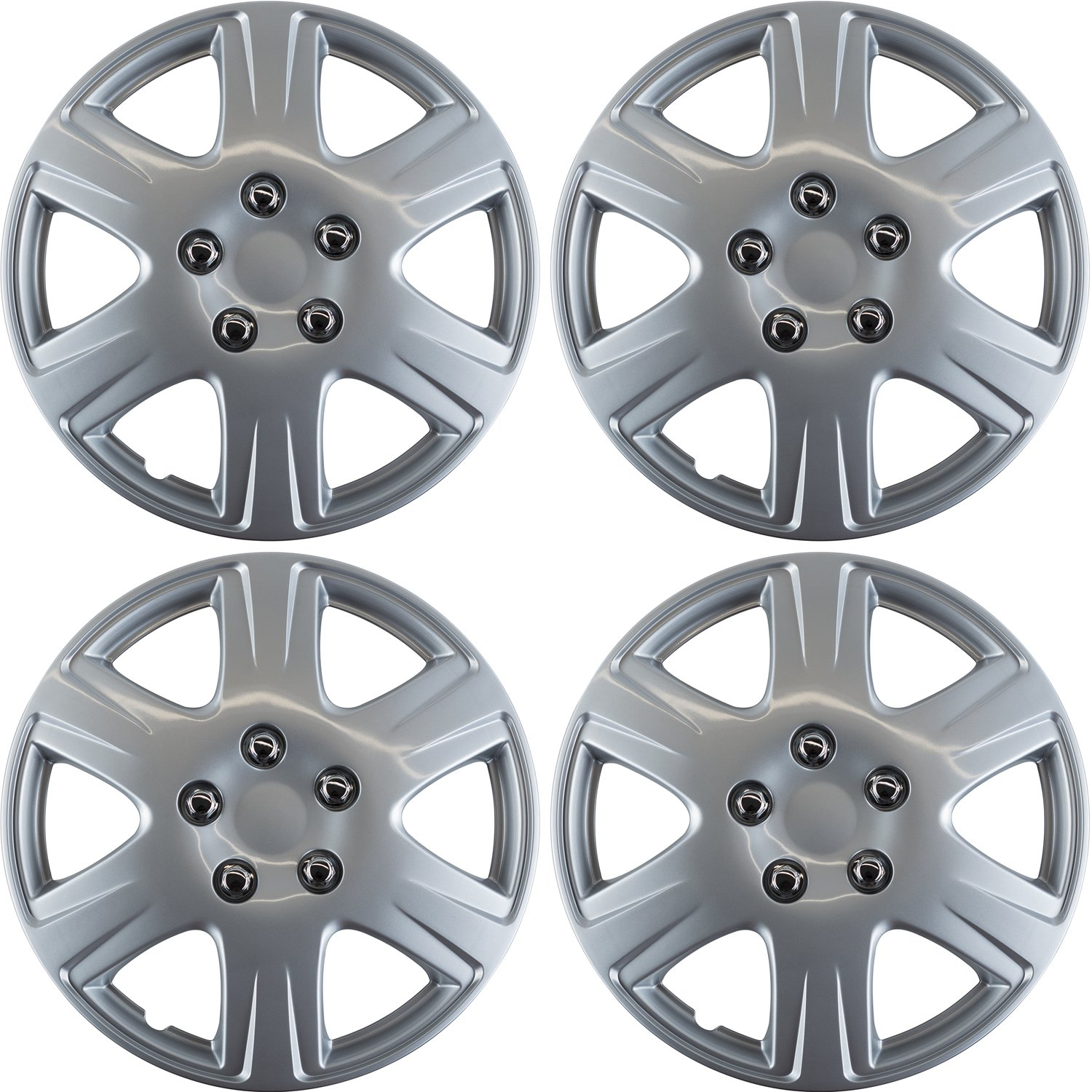 OxGord Hubcaps for Toyota Corolla (Pack of 4) Wheel Covers - 15'' Inch, 6 Spoke, Snap On, Silver