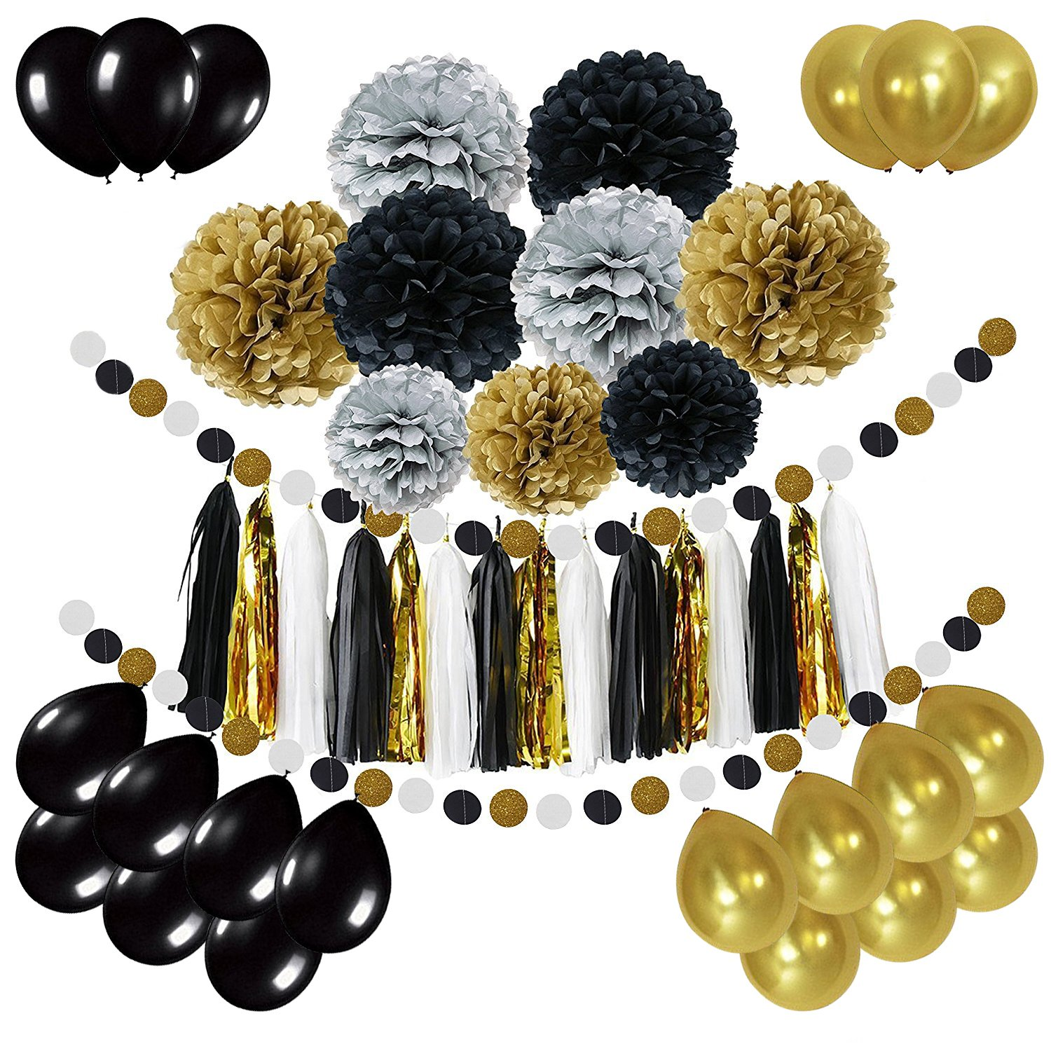 Newland Tissue Paper, 46 pcs Party Decorations, Pom Poms Flowers, Tissue Tassel Garland, Latex Balloons, Polka Dot garland Kit, For Wedding Birthday Party Festival Decorations (Black Silver Gold) by Newland
