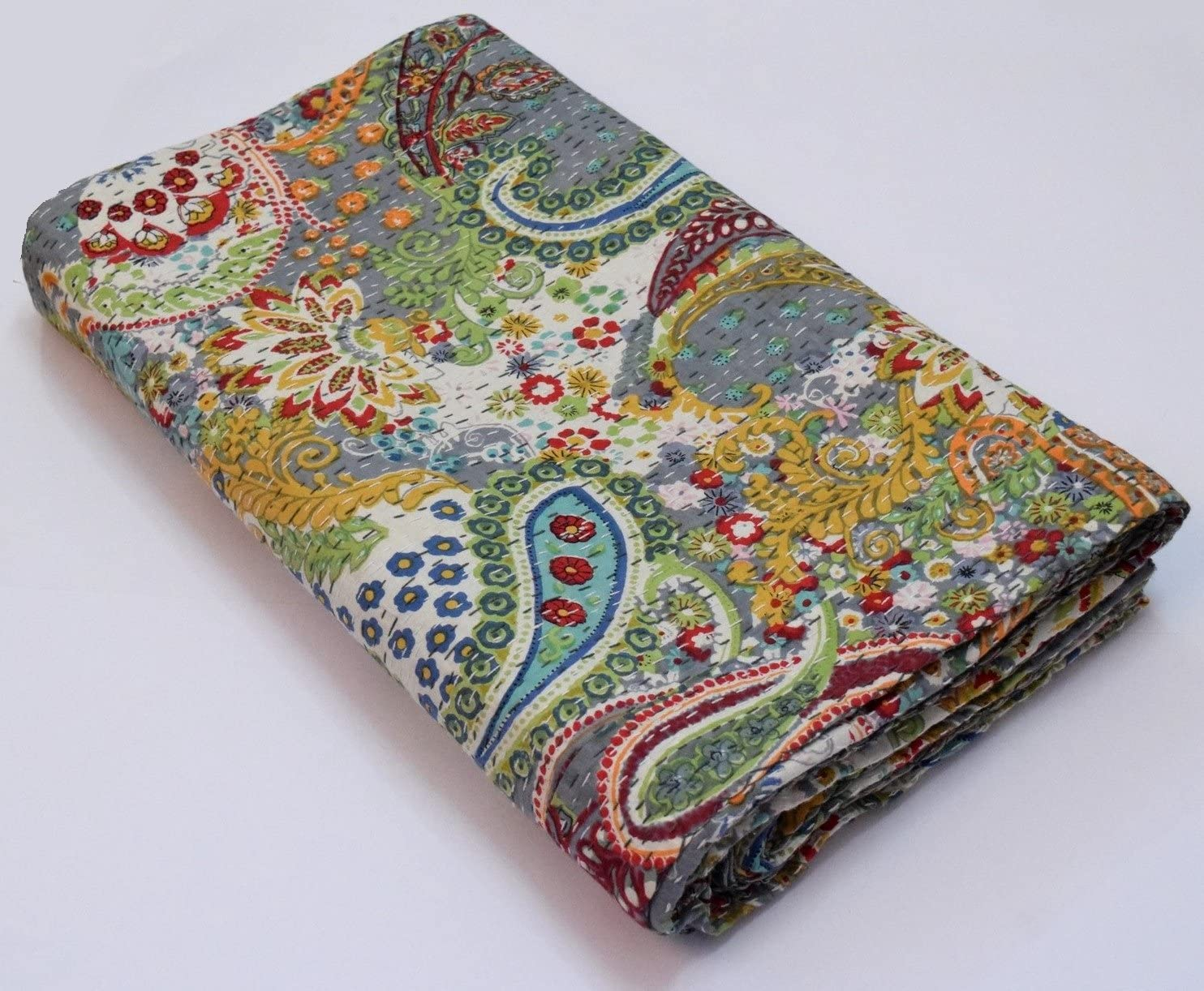 Indian Handmade Paisley Print Kantha Quilt  Cotton Throw Reversible Bedspread