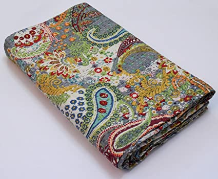Handmade Indian Patchwork Blue Floral Paisley Kantha Quilt Throw Bedspread Bedding