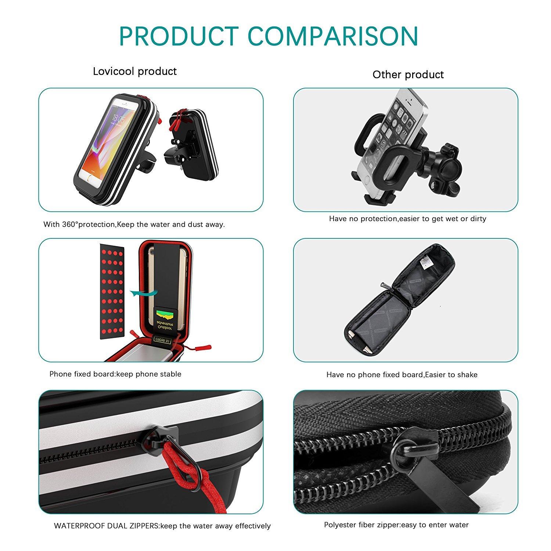 Impermeabile Supporto Bici Smartphone per iPhone 8//7//6 Plus Samsung S9//8//7 Rotabile a 360 Gradi Borse Bici Antiurto Bicicletta Borsa da Manubrio Porta Telefono per Bicicletta