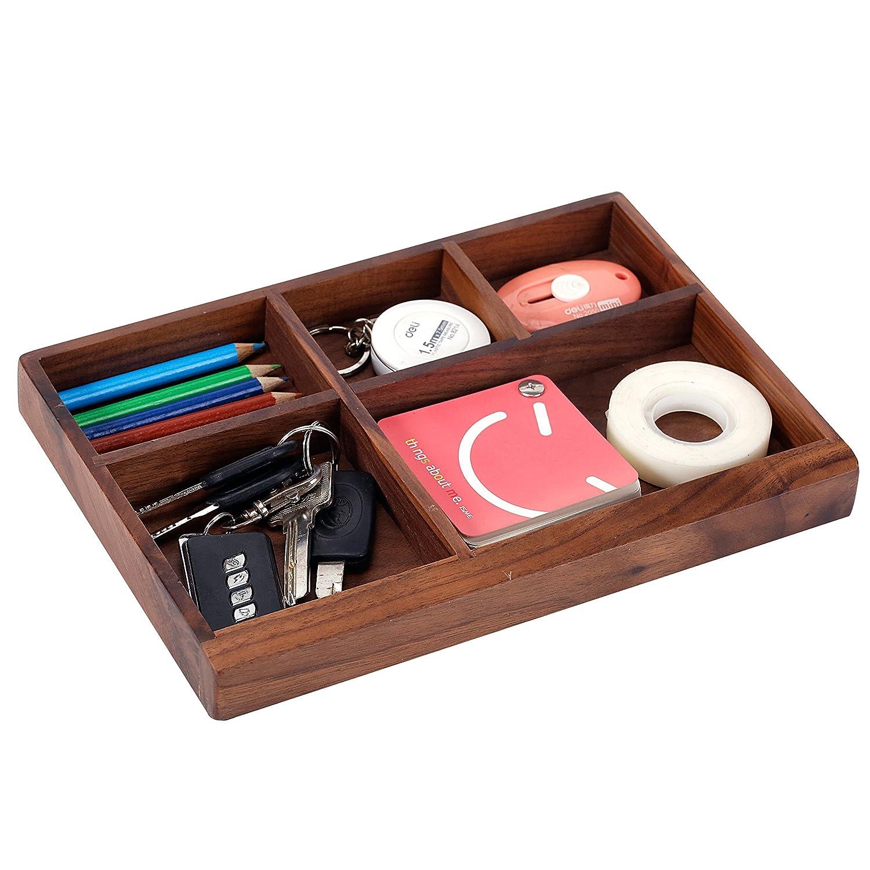 5 Compartment Dark Walnut Wood Office Desk Drawer Storage Organizer Tray
