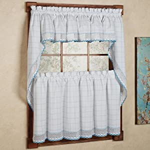 """Sweet Home Collection 5 Pc Kitchen Curtain Set - Valance Swag Choice of 24"""" or 36"""" Tier Pair, Adirondack White/Blue"""