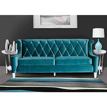 Armen Living LC8443BLUE Barrister Sofa In Blue Velvet Brushed Stainless  Steel Finish