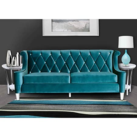 armen living barrister sofa blue velvet with crystal buttons rh amazon co uk