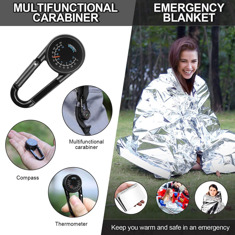 Bussola ENKEEO Kit di Sopravvivenza Coperta di Emergenza Braccialetti Multiuso Esca da Fuoco Raschietto Escursionismo Caccia 13-in-1Set di Attrezzi demergenza per Campeggio Torcia Elettrica