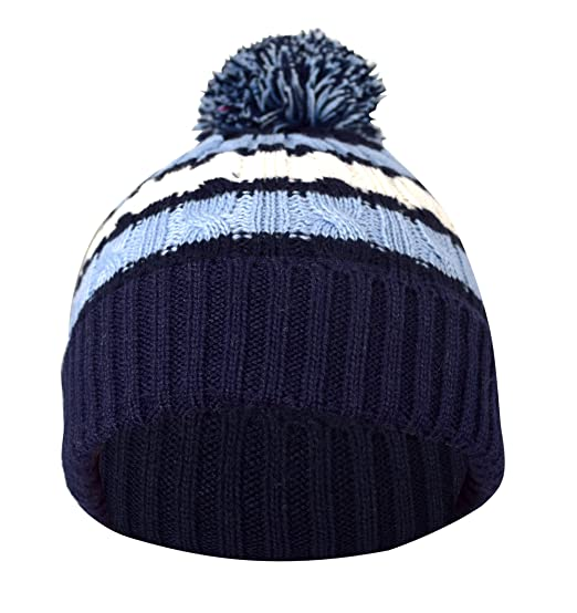 7795506d2d1 Amazon.com  Peach Couture Classic Warm Adorable Kids Toddler Double Layer  Striped Cable Knit Winter Pom Pom Hat Navy  Clothing