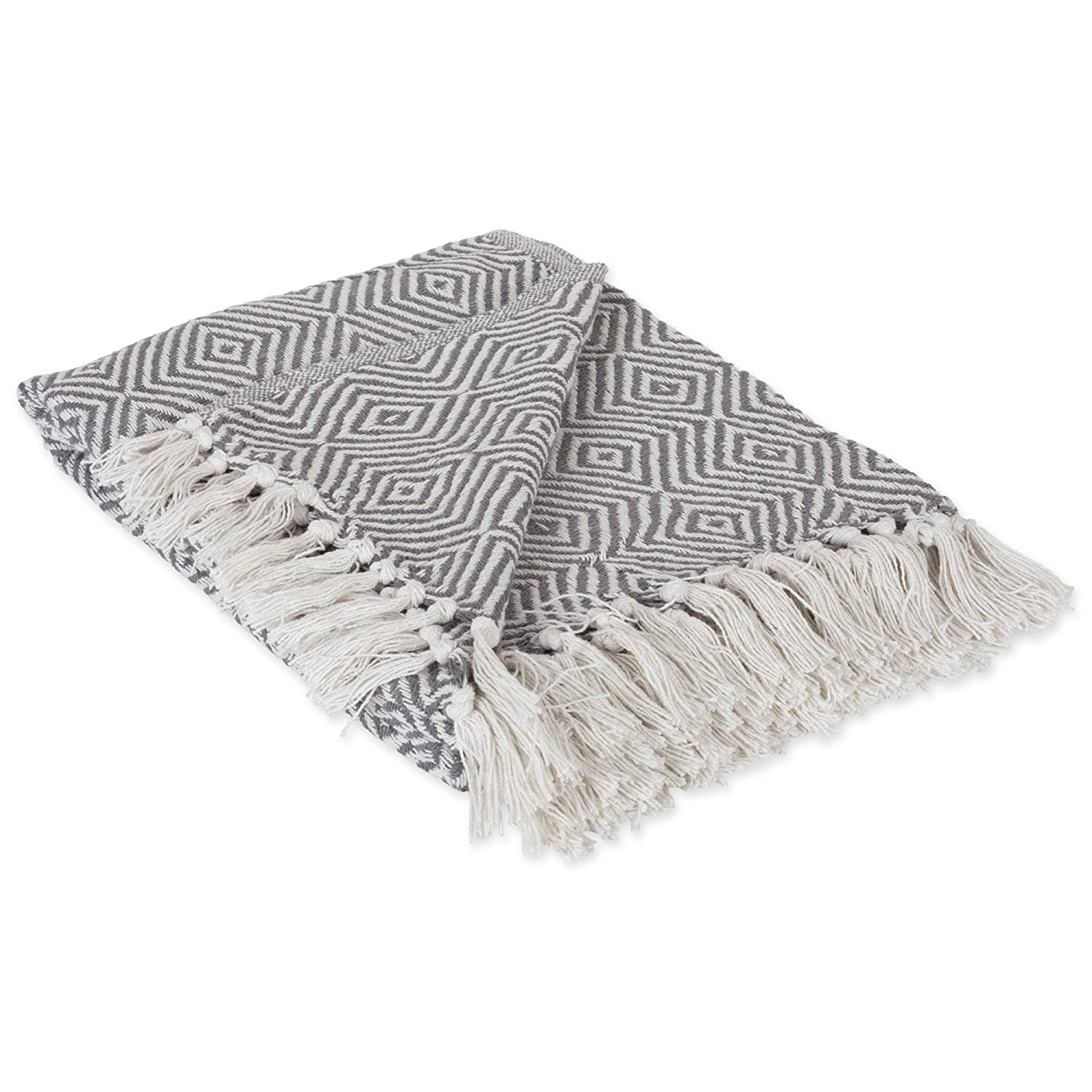 DII 100% Cotton Geometric Daimond Throw for Indoor/Outdoor Use Camping Bbq's Beaches Everyday Blanket, 50 x 60, Mineral Gray