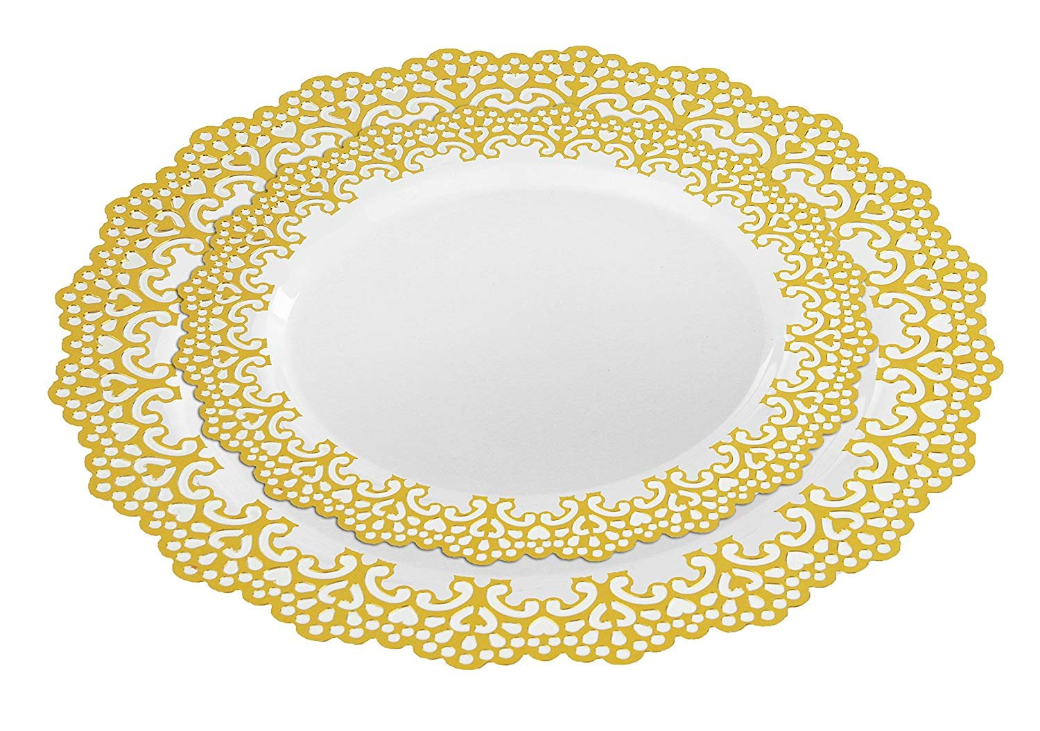 160 Piece (80 Guest) Disposable Plastic Plates, Hard and Reusable, Real China Look - Party Package Set - Includes 10'' inch Dinner Plates and 7.5'' inch Salad/Dessert Plates (Gold, 160 Piece Bulk Set)