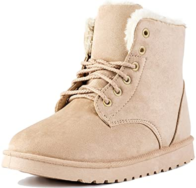 16db8d9f26df Keluomanduo Women s Winter Snow Boots Fur Liners Lace Up Short Basic Ankle  Booties 4 Beige