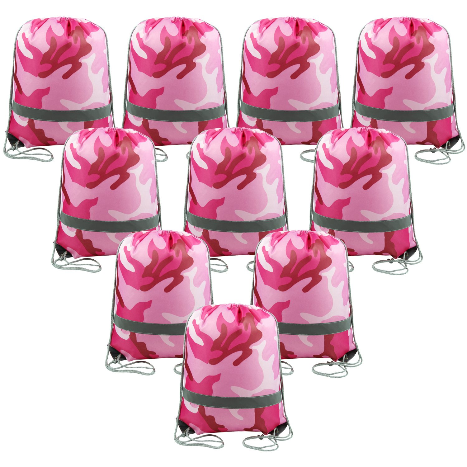 Drawstring Backpack Bags Reflective Bulk Pack, Promotional Sport Gym Sack Cinch Bags (Pink Camo)