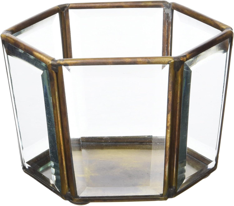 11x9.5x8 Cristal 11x9,5x8 cm Moycor Bisel Vaso portavelas Hexagonal Bronce Envejecido