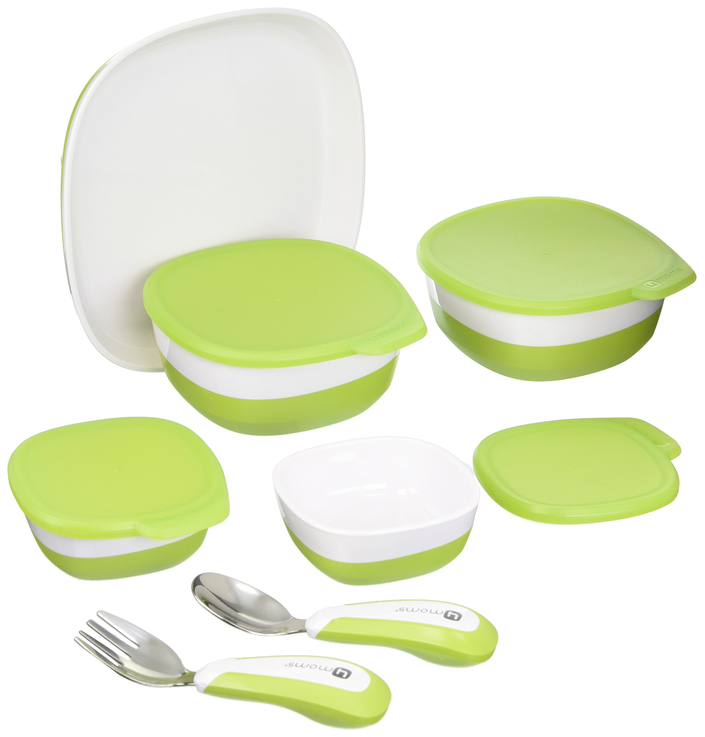 4moms high Chair Magnetic Plate, Bowls and Utensils Feeding Set - Dishwasher Safe by 4moms