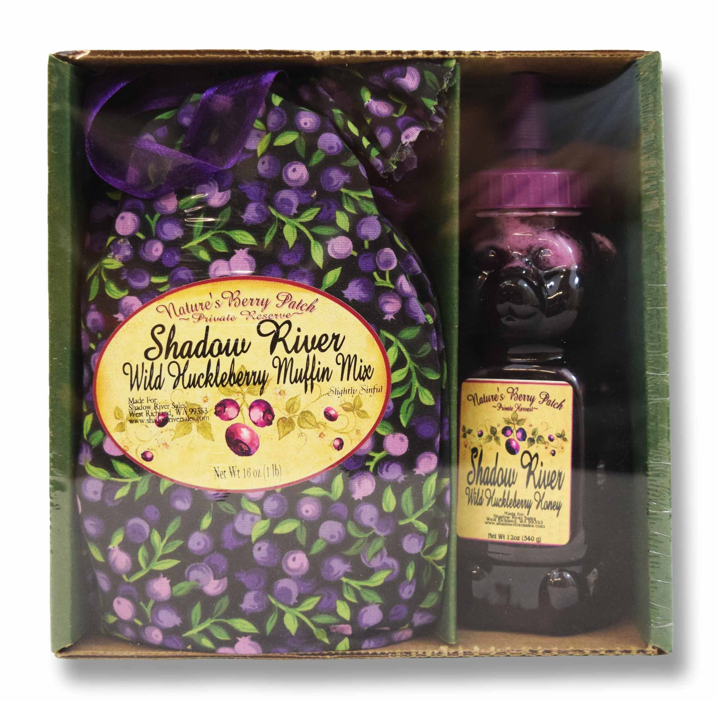 Shadow River Wild Huckleberry Gourmet Boxed Gift Set Muffin Mix & 12 oz Honey