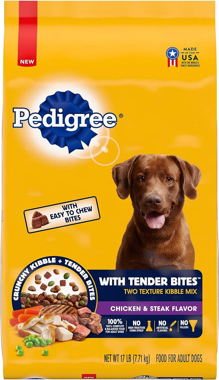 PEDIGREE with Tender Bites Complete Nutrition Adult Dry Dog Food Chicken & Steak Flavor Dog Kibble, 17 lb. Bag