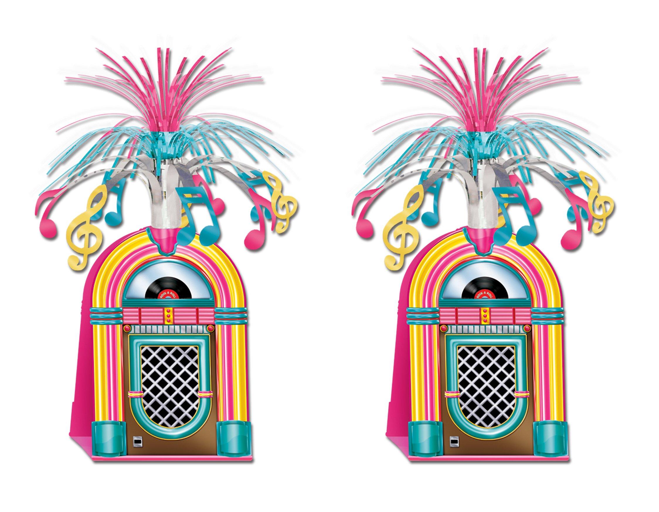 Beistle S57765AZ2, 2 Piece Jukebox Centerpieces, 15''