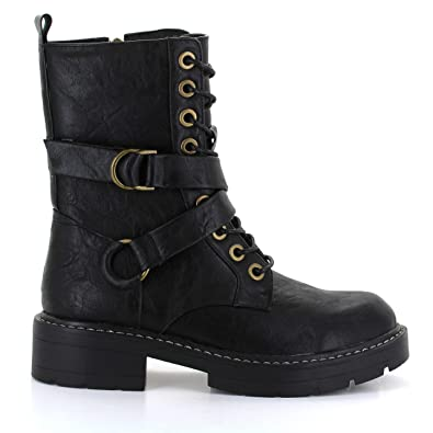 2bc66336fd7ad Seven7 Women s Cardi B Combat Boot Military Lace-Up Vegan Leather High  Ankle Black 6