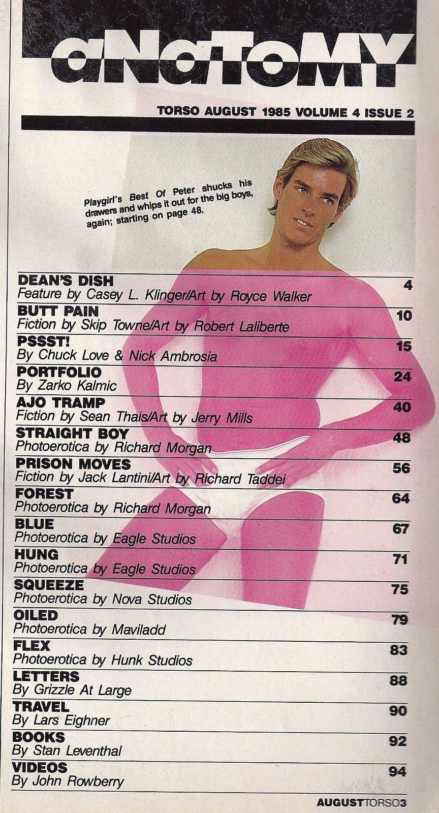 NO COVER * Peter Saks l Shawn Michaels l Precondom Gay Porn Stars - August,  1985 Torso Magazine Single Issue Magazine – 1985