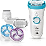 Silk Epil 9-961e Skin Spa Women's Wet and Dry Cordless Epilator with 6 Extras - Including Bonus Body Exfoliator Attachments